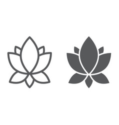 Yoga line and glyph icon flower and health lotus vector