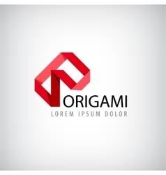 abstract red logo origamilogo ribbon vector image vector image