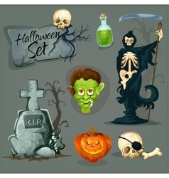 Cartoon scary elemens for halloween vector