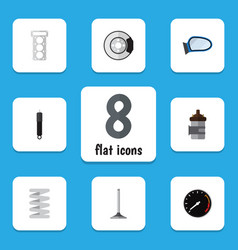 flat icon auto set of metal absorber tachometr vector image vector image