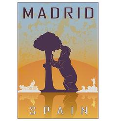 Madrid vintage poster vector image vector image