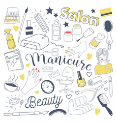 manicure and pedicure freehand doodle beauty vector image