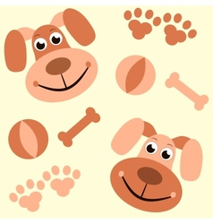 seamless background with dogs paws and bones vector image vector image