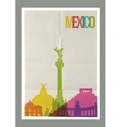 Travel Mexico landmarks skyline vintage poster vector image vector image