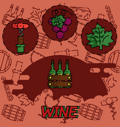 wine flat concept icons vector image vector image