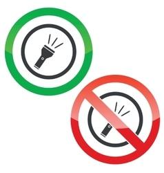 Flashlight permission signs vector image