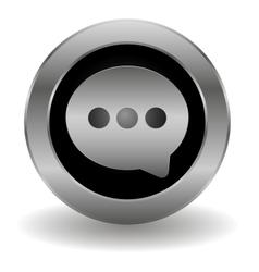 Metallic speech button vector image vector image