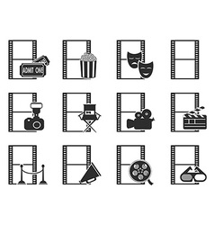 movie film icons set vector image