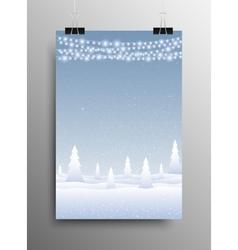 Vertical poster snow falling garland christmas vector