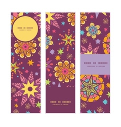 colorful stars vertical banners set pattern vector image vector image