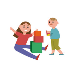happy children playing building blocks cartoon vector image