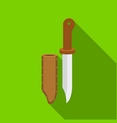 hunting knife icon in flat style isolated on white vector image