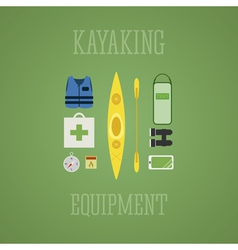 Kayaking equipment icons set Kayak on a multicolor vector image vector image