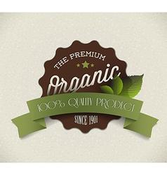Old round retro vintage grunge label for organic vector image