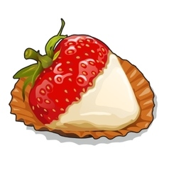 Ripe strawberries with cream on plate closeup vector image vector image