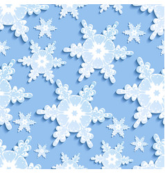 seamless pattern with blue - white 3d snowflake vector image vector image