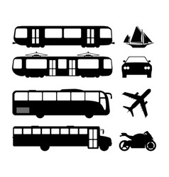 set of flat urban transport icon silhouette vector image vector image