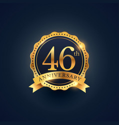 46th anniversary celebration badge label in vector image