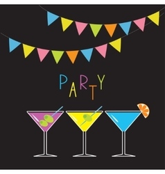 Glasses with different cocktails Triangle paper vector image vector image