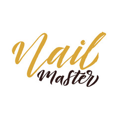 nail master logo beauty lettering manicure vector image vector image