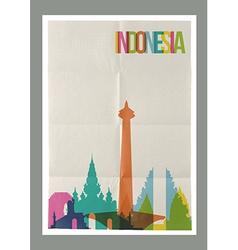 Travel Indonesia landmarks skyline vintage poster vector image vector image