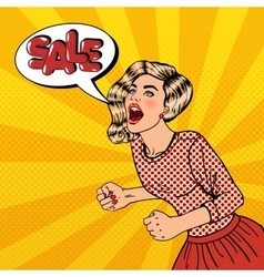 Woman Shouting Sale Big Sale Poster Pop Art vector image vector image
