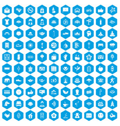 100 yoga studio icons set blue vector