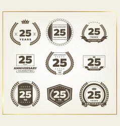 25 years anniversary logo set vector