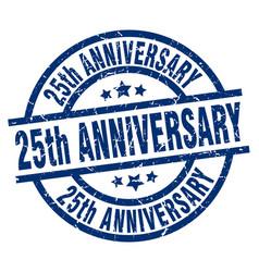 25th anniversary blue round grunge stamp vector