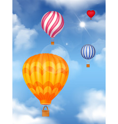 Air baloons in the sky background vector