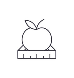 apple with a ruler line icon concept apple with a vector image