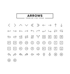 arrows line icon set vector image