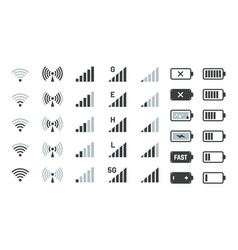 battery and signal icons smartphone charge status vector image