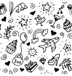 birthday seamless pattern black and white doodle vector image