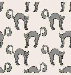black cats color seamless pattern vector image