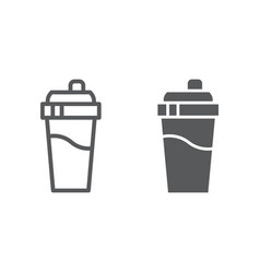 Bottle shaker line and glyph icon drink and vector