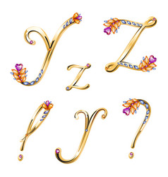Bronze alphabet with colored gems letters Y Z and vector