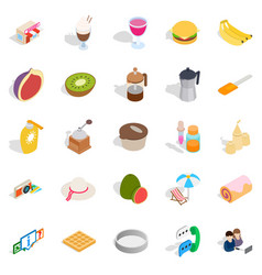 brunch icons set isometric style vector image