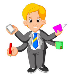 Businessman with multi tasking and multi skill vector