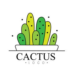 Cactus logo design green badge with plants vector