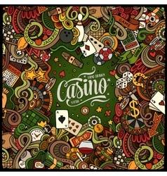 Cartoon doodles casino frame design vector