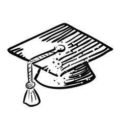 Cartoon image of graduation cap icon education vector