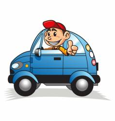 cartoon motorist vector image