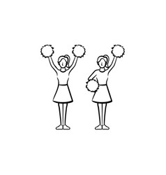 Cheerleader women with pom-pom hand drawn icon vector