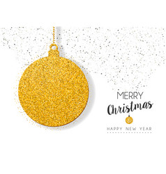 Christmas new year gold glitter holiday ornament vector