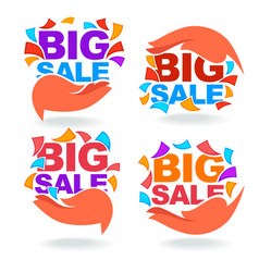 collection of bright big sale discount tags vector image