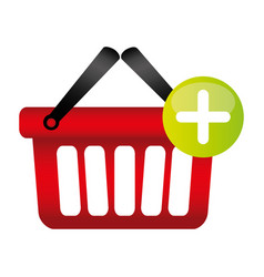 Colorful silhouette with shopping basket with two vector