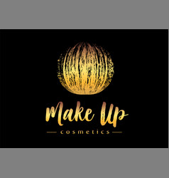 Creative make up logo mmascara brush golden vector