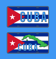Cuba car number plate vehicle registration plates vector