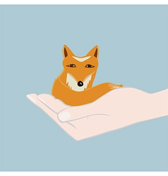 Cute little fox cupped in a hand vector
